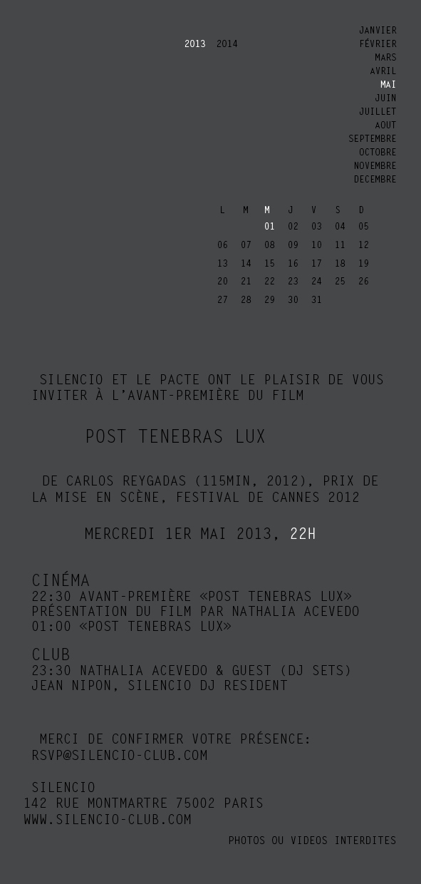 Presenting Post Tenebras Lux at SILENCIO Paris
